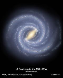 Um conceito artístico da Via Láctea, a nossa galáxia.