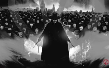 As máscaras de Guy Fawkes em V de Vingança. Mas poderia ser também uma passeata dos Anonymous.