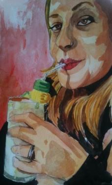 Outro retrato meu em aquarela, do André Braga Jr.